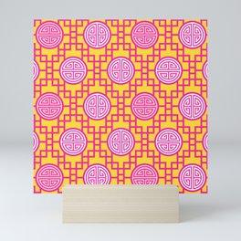 Chinese Geometrics / Pink Yellow Mini Art Print