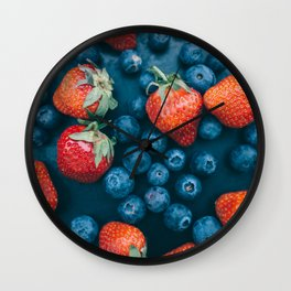Strawberries and blueberries Wall Clock