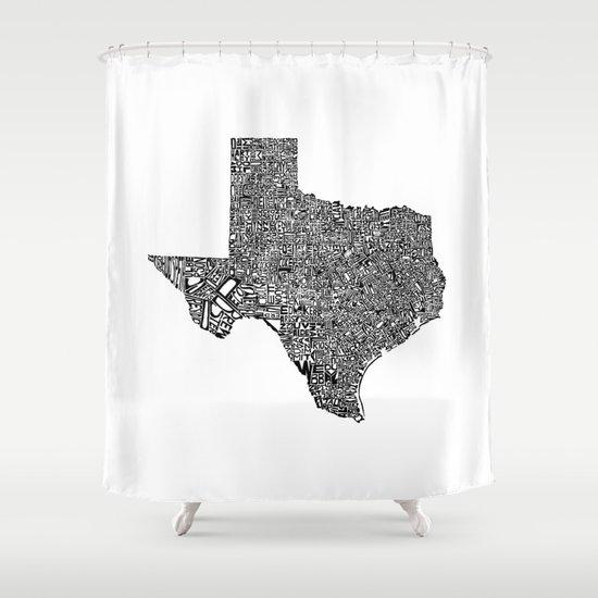 Typographic Texas Shower Curtain