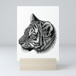 Amur tiger cub - big cat - ink illustration Mini Art Print