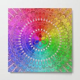 Rainbow Feather Mandala Metal Print