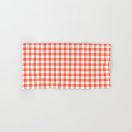 Living Coral Color of the Year Orange and White Buffalo Check Plaid Hand & Bath Towel