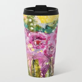 Pink Flowers Metal Travel Mug