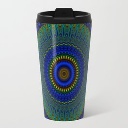 blue yellow mandala Travel Mug