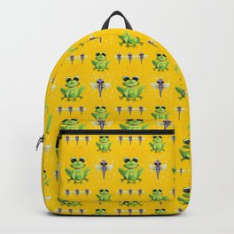 Frogs & Dragonfly Pattern Backpack