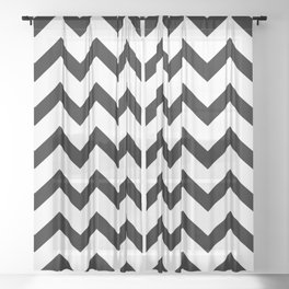 Simple Black and white Chevron pattern Sheer Curtain