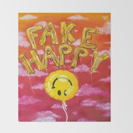 Fake Happy Throw Blanket