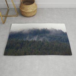 Misty Pine Trees Pacific Northwest Rug