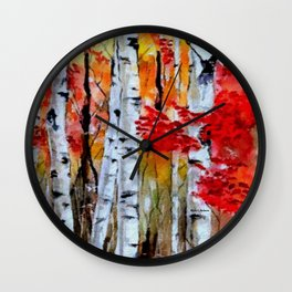 Birch Trees in Fall Wall Clock