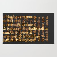 calligraphy Area & Throw Rugs featuring Calligraphy Gothic by Cami Landia