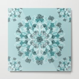 Crystals Succulents Mandala MINT GREEN Metal Print