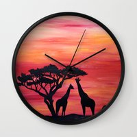 africa Wall Clocks featuring Africa by Monica Georg-Buller