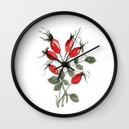 Watercolor Rosehips Wall Clock