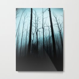 Scary Haunting Halloween Dark Forest Barren Trees Blue Background Metal Print