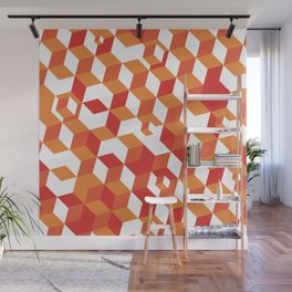 Isometric Orange Cubicle Pattern Wall Mural