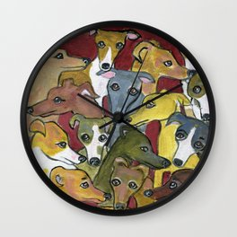 Greyhound Gathering on Maroon Wall Clock