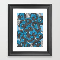 In Bloom (blue & grey) Framed Art Print