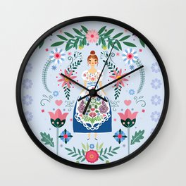 Fairy Tale Folk Art Garden Wall Clock