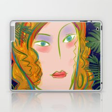 Pop Girl Portrait with Flowers and Leaves Decoration Laptop & iPad Skin