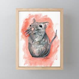 Hoping - Little Watercolor Mouse Framed Mini Art Print