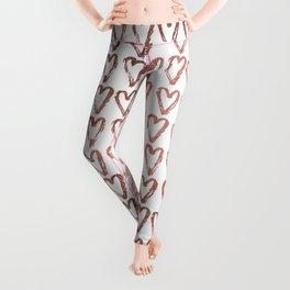 Chic faux rose gold modern romantic heart pattern Leggings