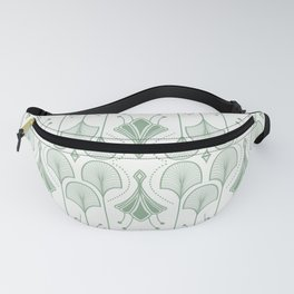 Lily Lake - Retro Floral Pattern Muted Green Fanny Pack