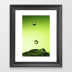 Green water drops Framed Art Print
