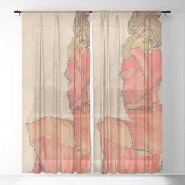 Egon Schiele - Kneeling Female in Orange-Red Dress Sheer Curtain
