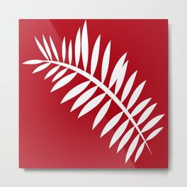 PALM LEAF RED AND WHITE PATTERN Metal Print