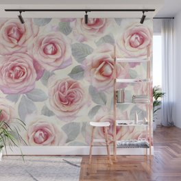 Mauve and Cream Painted Roses Wall Mural
