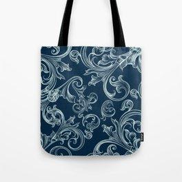 Luxury elegant flourishes on blue. Royal apartment Tote Bag