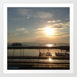 Lake Champlain Ferry to Burlington Vermont at Sunset Art Print