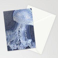 🔵 Blue Denim Mosaic Jellyfish Stationery Cards
