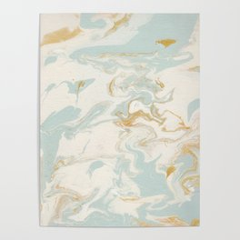 Marble - Cream & Blue Poster