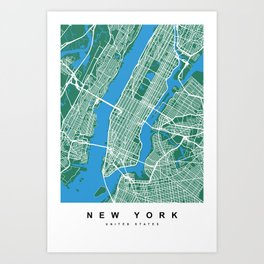 New York Map | Green & Blue Colors Art Print