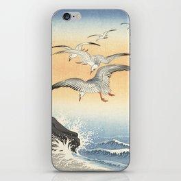 Japanese Seagull Woodblock Print by Ohara Koson iPhone Skin