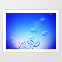 Blue Bubbly Blue Art Print