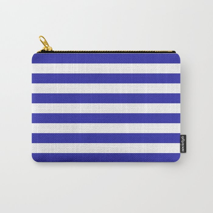 Stripes (Navy & White Pattern) Carry-All Pouch