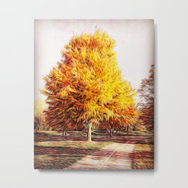 Whimsical Autumn Tree along a Wooded Path Metal Print