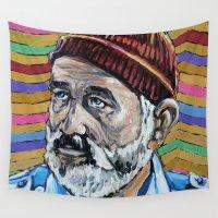 murray Wall Tapestries featuring BILL MURRAY aka STEVE ZISSOU aka DAYDREAM JOHNNY by Jamil Zakaria Keyani