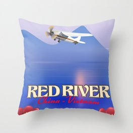 Red River China Vietnam travel poster. Throw Pillow