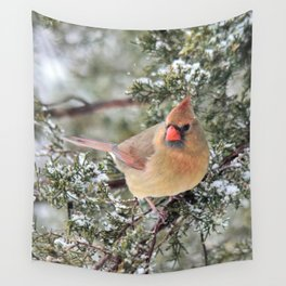 Frosty Female Cardinal Wall Tapestry