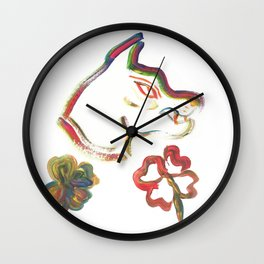 Rainbow Panther and Lucky Four Leaf Clovers Wall Clock