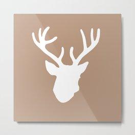 Deer Head: Rustic Beige Metal Print