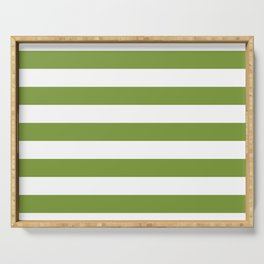 Green and White Stripes Serving Tray