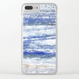 Gray Blue Marble blurred watercolor texture Clear iPhone Case