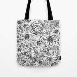 B&W Flowers  Tote Bag