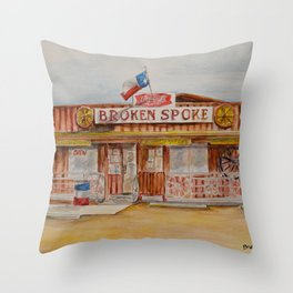 The Broken Spoke - Austin's Legendary Honky-Tonk Watercolor Painting Throw Pillow