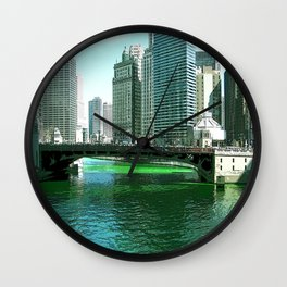 Chicago River on St. Patrick's Day #Chicago Wall Clock