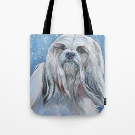 Lhasa Apso dog art portrait from an original painting by L.A.Shepard Tote Bag